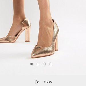 Glamorous rose gold block heeled shoes from ASOS